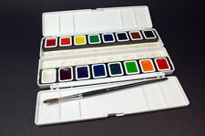 Watercolor Set, 16 Half Pan Colors w' Brush, Prang, Quick Ship