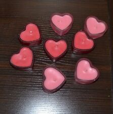 Set of 8 Red Heart Shaped Candles with frosted glass candle holders RUSS