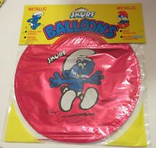 "Rare Vintage Smurf Metallic 5 ""refillable"" party Balloons New in Package 1982"
