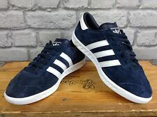 ADIDAS MENS UK 8 EU 42 BLUE WHITE SUEDE HAMBURG TRAINERS RRP £72