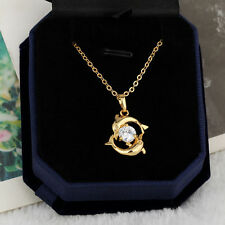 Women 18k Gold Jewelry Crystal Fashion Couple Dolphin Pendant Chain Necklace