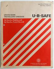 Union Bank of India 3 SPECIMEN Travelers Cheques in folder