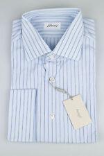 New. BRIONI Sky Blue Striped Cotton French Cuff Dress Shirt 16.5 U.S/42 EU $495
