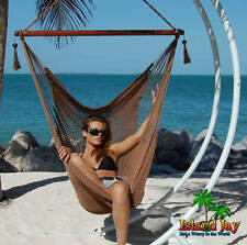 MOCHA Caribbean JUMBO Hammock Chair & Hardwood SPREADER BAR Rope Porch Swing