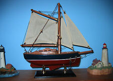 "Wooden Ship Model- FRIENDSHIP like GAFF SLOOP- 9"" Long Beautiful! New/Assembled"