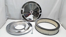 """14"""" round chrome air cleaner assembly kit FLAT base 3"""" filter SBC BBC Holley"""