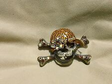 Belt Buckle-Skull & Crossbone Gold Rhinestoned Belt Buckle