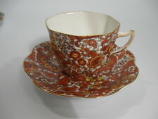 Rosina Cup and Saucer Rust and Yellow Pasiley Pattern