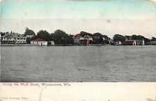 Wisconsin Wi Postcard 1911 WINNECONE ALong the WOLF RIVER Homes