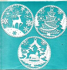 NEW  TATTERED LACE SILHOUETTE SNOWGLOBE DIE CUTS -. 3 DESIGNS -CHRISTMAS TOPPER