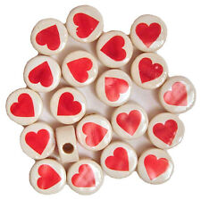 11mm RED HEART Ceramic Disk Disc Coin Beads, Horizontal Holes /G67H