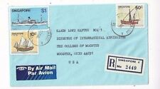 Changi Singapore Reistered Airmail to Wooster Ohio, Ship Stamps