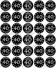 30 x HAPPY 40th BIRTHDAY Edible Wafer Paper Cupcake Toppers BLACK RED PINK BLUE