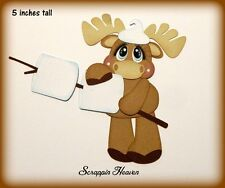 Marshmallow Moose Camping Outdoors Smores premade paper piecing die cut