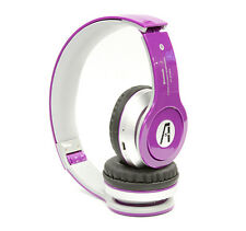 Wireless Bluetooth Stereo Headset with Mic, Mp3 Player with Card - Purple