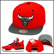 Mitchell & Ness Chicago Bulls Snapback Hat Red/Grey/Grey 3M Jordan 4 Toro Bravo