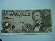 AUSTRIA 20 SCHILLING BANKNOTE Crisp 1967 paper money