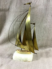 Vintage Model Sail Boat Yacht Sculpture Brass Marble Mid Century Modern Decor