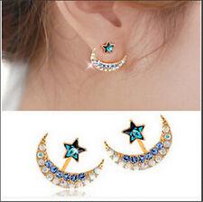 Lovely Full Rhinestone Moon Star Crystal Stud Earrings For Women Girls Best Gift
