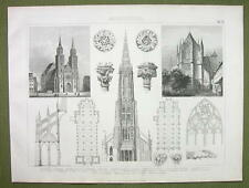 GOTHIC ARCHITECTURE Prague Ulm Gladbach Cologne - 1870s Engraving Print