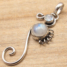 """Everyday Wear Pendant 1 3/4"""" ! Blue Fire RAINBOW MOONSTONE Silver Plated Jewelry"""