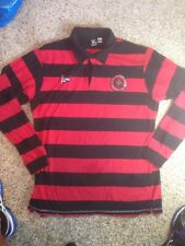L-R-G Lifted Research Group LRG Long Sleeve Polo Rugby Red Black Stripes XL Ked
