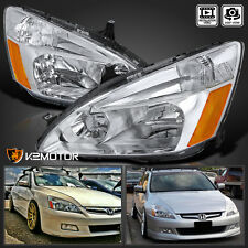 For 2003-2007 Accord Clear Chrome Headlights Signal Lamps LH+RH