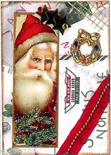 ACEO ATC Art Collage Print Santa Claus Christmas Pine Tree Wreath Stars SALE