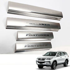 Fit 2015+ TOYOTA FORTUNER SILLS SCUFF STEP PLATE PANEL CHROME STAINLESS STEEL
