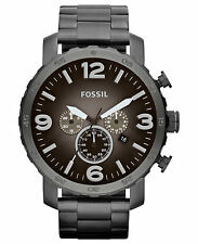 Fossil Men's JR1437 Nate Chronograph Grey Dial Grey Steel Bracelet Watch
