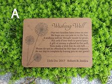 20 Personalised WISHING WELL CARDS Kraft Stock General Poem Wedding Invitations