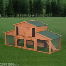 PawHut Chicken Cage Rabbit Hutch Wood Small Animal Coop Habitat Pet House