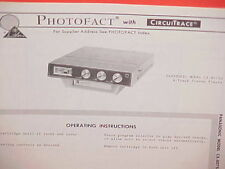 1969 PANASONIC CAR AUTO 8-TRACK STEREO TAPE PLAYER SERVICE MANUAL MODEL CX-807SU