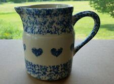 Gerald E. Henn Pottery Blue Heart 1 qt. Spongeware Pitcher - Roseville,Ohio
