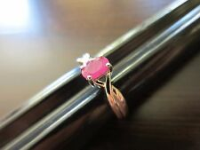 Sterling Silver Signed? Unique VTG Old Style Red-Pink Ruby Delicate Ring Sz 7=2g