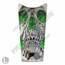 Gas Tank Dash Console Insert Decal for 87-07 Harley Touring SKULL GREEN FLAME IN