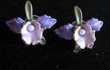 Purple/pink/green + pearl center hand painted 1 inch Orchid post back earrings