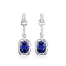 JewelryPalace 3.7ct Created Blue Sapphire  Dangle Earrings 925 Sterling Silver