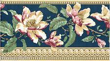 Victorian Magnolia Flower Floral Crown Molding Navy Blue Wall paper Border