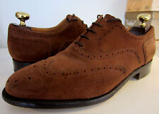 Barker Custom Grade Chocolate Suede Oxford Wingtip Brogues UK 8.5 EU 42.5