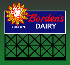 BORDEN'S DAIRY ANIMATED LIGHTED NEON SIGN HO or N SCALES-BLINKS-FLASHES-MORE!