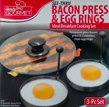 "Bacon Press and Egg Rings Two 4"" diameter Egg Rings 8"" diameter tempered glass"
