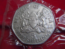 A 1985 UNCIRCULATED FIVE SHILLING COIN FROM KENYA FROM AN UNCIRCULATED YEAR SET