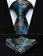 """TP711Q8S Green Brown Paisley 3.4"""" Silk Woven Men Tie Necktie Handkerchief Set"""