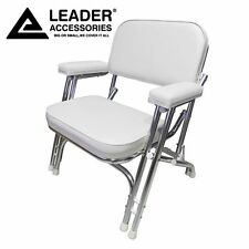 Leader Accessories Folding Deck Chair with Aluminum frame, White, armrests