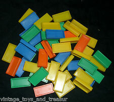 50 VINTAGE PRESSMAN DOMINO RALLY DOMINOES YELLOW BLUE GREEN REFILL PIECES PARTS