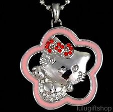 HELLOKITTY PINK FLOWER PENDANT NECKLACE USE SWAROVSKI CRYSTAL WITE GOLD PLATED
