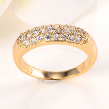 Korean 14K Yellow Gold Filled Clear CZ Fashion Ring Size 7 Promise