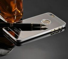 Apple Iphone 6 6s plus 5.5 mirror bling diamond diamante case cover back silver