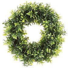 Pure Garden 11 Inch Open Basil Leaf Wreath Indoor Outdoor Artificial
